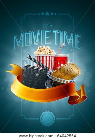 Popcorn box, disposable cup for beverages with straw, film strip, ticket and clapper board. Poster design template. Detailed vector illustration. EPS10 file.