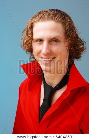 Red Haired Man With Black Necktie