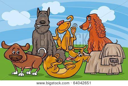 Cute Dogs Group Cartoon Illustration