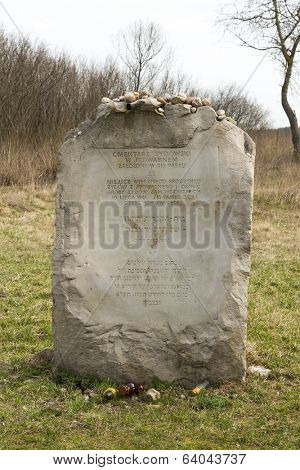 JEDWABNE - APRIL 6: Monument of the Jewish massacre in Jedwabne, Poland on April 6, 2014. Monument is a place for memory extermination of the Jews in Jedwabne, this happened in July 1941.