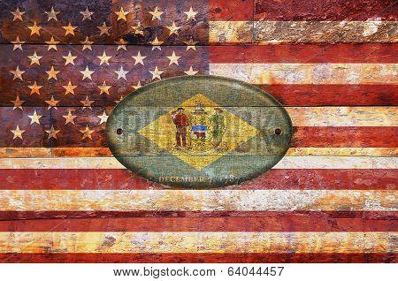 Wooden Flag Of Delaware.