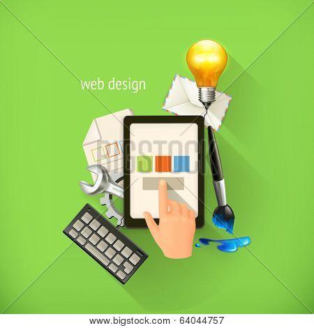 Web-design concept, infographic technology, vector illustration on light green background