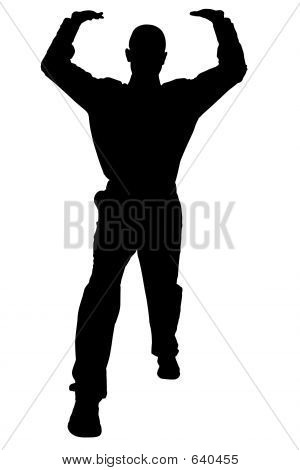 Silhouette With Clipping Path Of Man In Lifting Stance