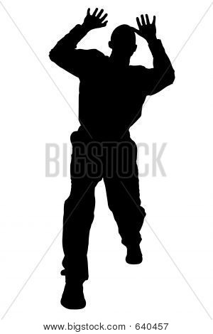 Silhouette With Clipping Path Of Man Cowering