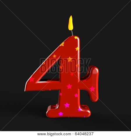 Number Four Candle Means Wax Cake Candle Or Birthday Candle