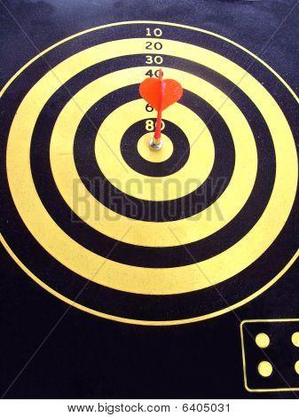 Darts.Bullseye! Dart hits the target!
