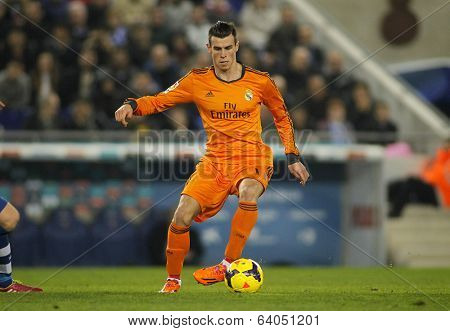 BARCELONA - JAN, 12: Gareth Bale of Real Madrid during the Spanish League match between Espanyol and Real Madrid at the Estadi Cornella on January 12, 2014 in Barcelona, Spain