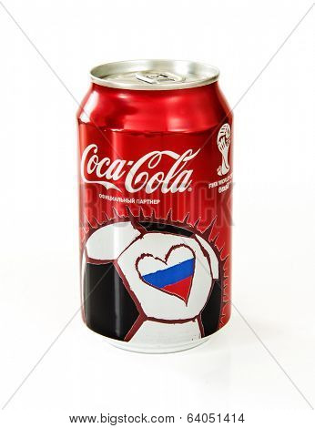 MOSCOW -APRIL, 28, 2014: Coca-Cola Can on White Background with the symbol of the World Cup in Russia. Coca-Cola Company - official partner of this championship.