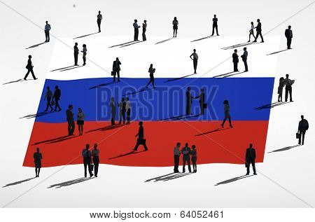 Russian flag and a group of people.