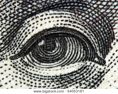 Dollar Usa, Eye. Extreme Closeup.macro