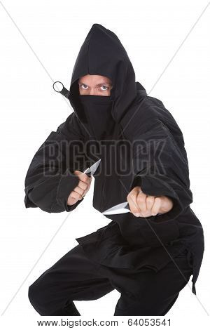 Portrait Of Male Ninja In Black Costume