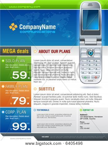 Blue Cellphone Brochure