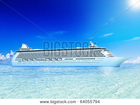 3D Cruise sip on ocean and blue sky.