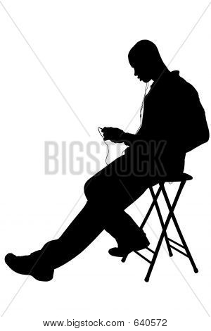 Silhouette With Clipping Path Of Man Listening To Headphones