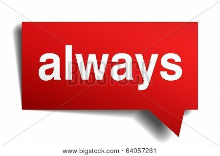Always Red 3D Realistic Paper Speech Bubble Isolated On White