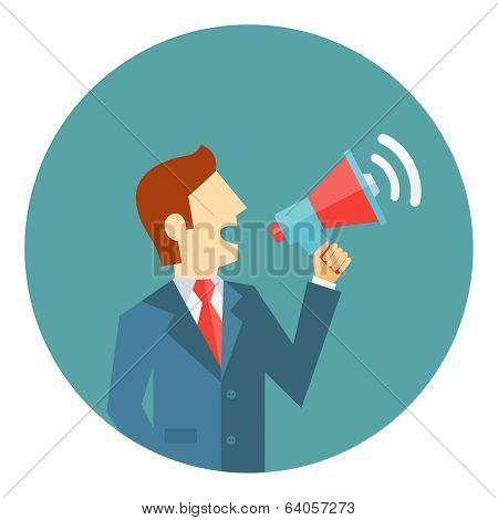 Businessman with a megaphone