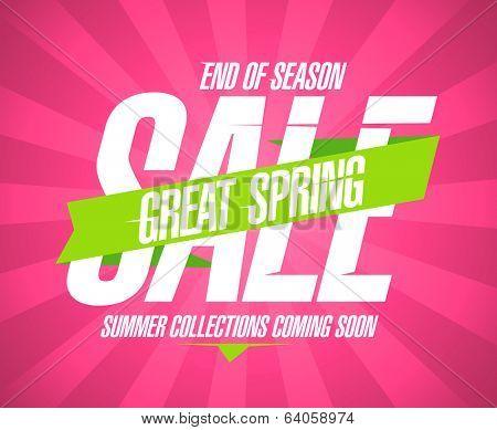 Spring sale vintage design template.