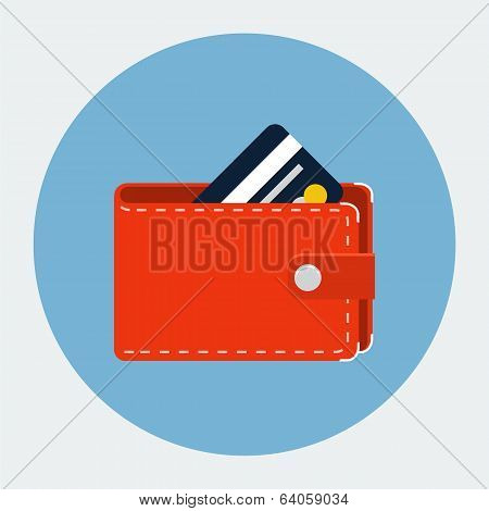 Vector wallet with card icon