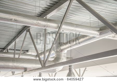 Industrial Steel Ventilation Pipes Inside Of Building.