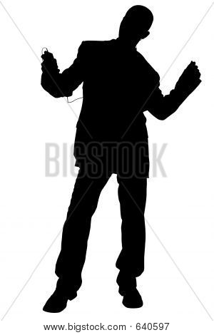 Silhouette With Clipping Path Of Man In Suit Dancing Wearing Hea