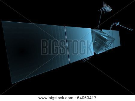 Space satellite x-ray blue transparent isolated on black