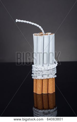 Cigarettes Tied With Rope And Wick