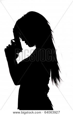 Sexy Girl In Silhouette With Guns Isolated On White Background
