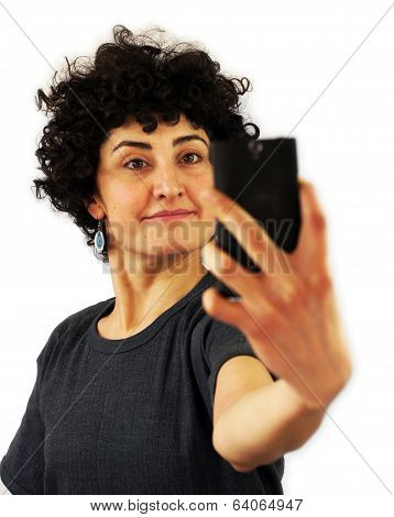 Woman takes a self portrait