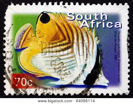 Postage Stamp South Africa 2000 Treadfin Butterflyfish, Marine F