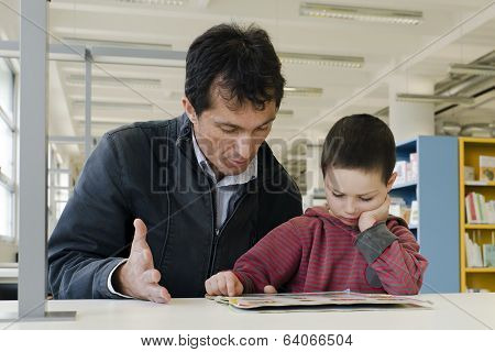 Child And Adult In Library