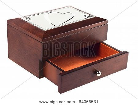 Wooden casket with heart on top