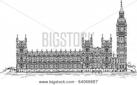 Big Ben and Houses of Parliament, London UK  Sketch collection