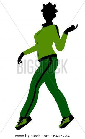 African American Female Jogger Illustration Silhouette