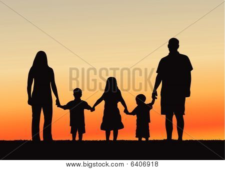 Family at Sunset vector illustration