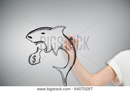 Composite image of businesswoman drawing loan shark against grey vignette