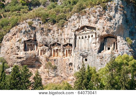 Turkish  Lycian Tombs  - Ancient Necropolis In The Mountains