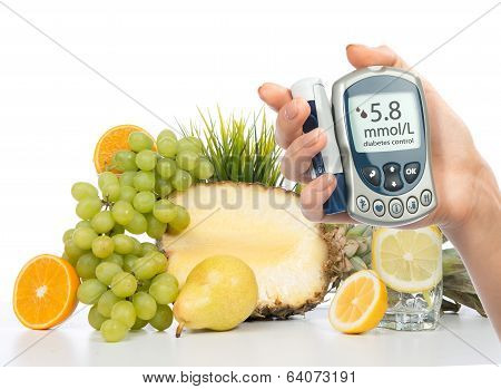 Diabetes Concept Glucose Meter Healthy Organic Food