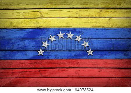 Venezuelan flag painted on wooden boards