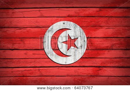 Tunisian flag painted on wooden boards