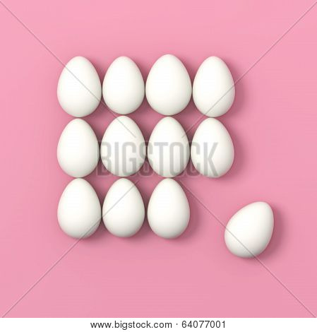 Dozen Of Eggs On Pink Background