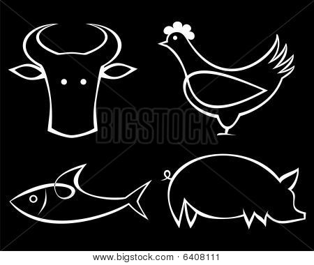 Beef, fish, chicken and pork - food icons.