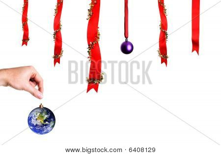 Christmas Decoration Over White Background