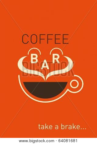 Comic coffee bar poster. Vector illustration.