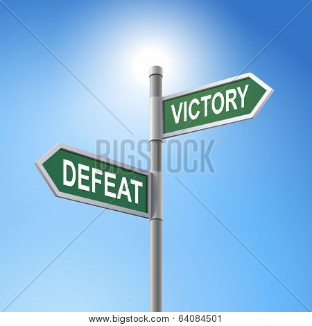 3D Road Sign Saying Defeat And Victory