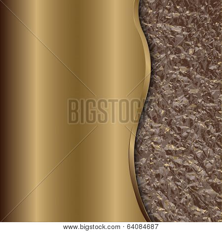 Vector abstract bronze background with curve and foil
