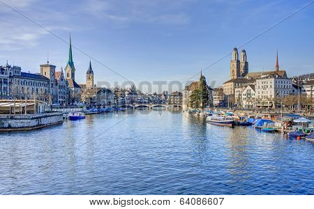 Zurich Cityscape - View Along The Limmat River