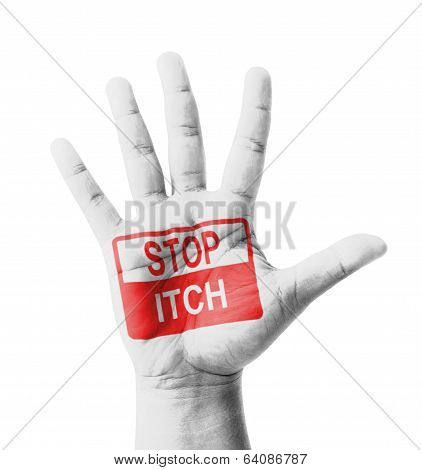 Open Hand Raised, Stop Itch Sign Painted, Multi Purpose Concept - Isolated On White Background