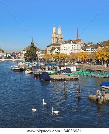 Zurich, The Limmat River And The Great Minster