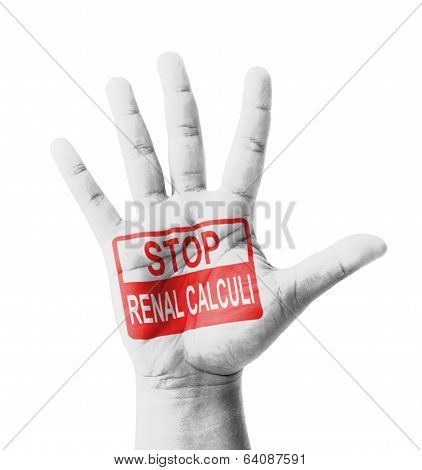 Open Hand Raised, Stop Renal Calculi Sign Painted, Multi Purpose Concept - Isolated On White Backgro