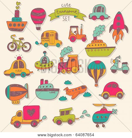 Big transportation icons collection in bright colors. Travel set with retro cars, air-balloons, ships, bike, helicopter, ufo and train. Graphic vintage set in cartoon style
